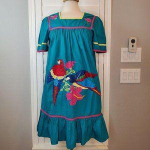 VTG 90s BECHAMEL PETITES Parrots Turquoise Dress S